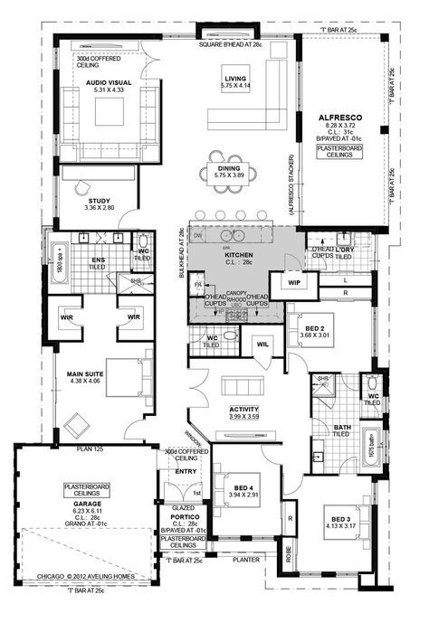 Today I have this family home with a study to show you. The plan is a great size and would suit a normal residential block. The 3 kids' bedrooms are to the front of the home with the master being behind the garage.