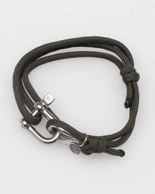 Simple photo, simple rope bracelet. Made by JLK. Nautical Shackle. Comes in Olive, Black, Navy, Orange and White. $28 - Available at Need Supply Co. - http://needsupply.com/mens/brands/jlk