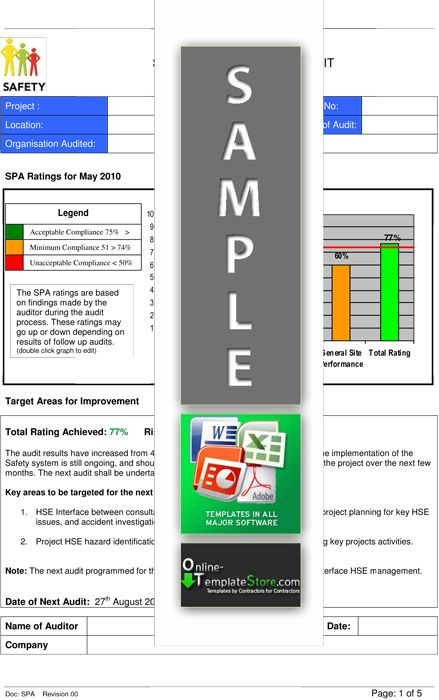 Safety Audit Report  Health  Safety Templates    Safety