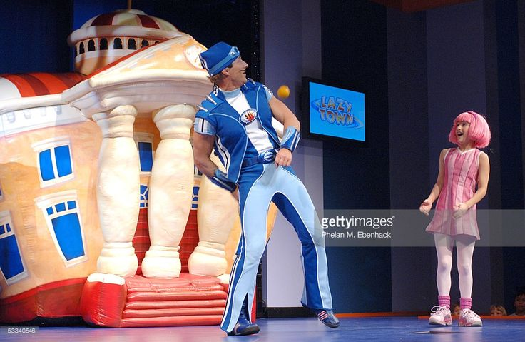 Magnus Scheving (Sportacus), left, and Julianna Rose Mauriello (Stephanie) from the Nick Jr. series 'LazyTown' celebrate the kick-off of the LazyTown Live! Tour at the Nickelodeon Family Suites August 6, 2005 in Orlando, Florida. A one-hour special 'LazyTown's New Superhero' premieres August 15, 2005 at 8 p.m. ET/PT on Nickelodeon.