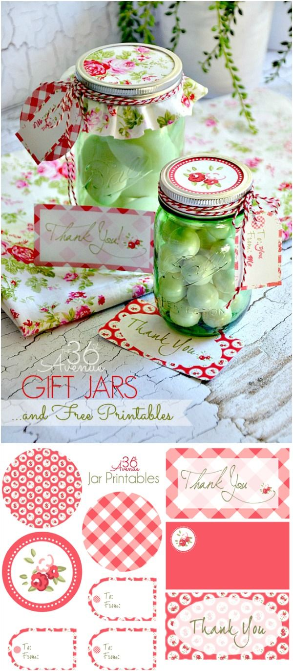Adorable Free Printables and Jar Gift Idea. Click on the image to visit the36thavenue.com for more gift ideas!