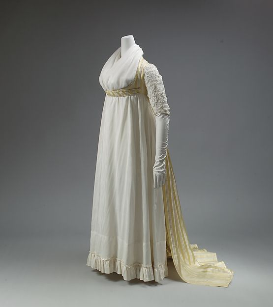 The Empire dress owes its name, physical emancipation, popularity, and even its sexiness to France. In this English example, French style is slavishly followed in the gown's high waist and modish stripes