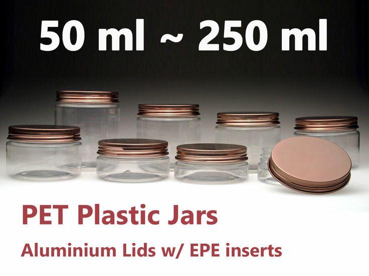 Empty PET Plastic Jars Aluminum Bronze Lids Clear Pots Cosmetic 50ml-500ml
