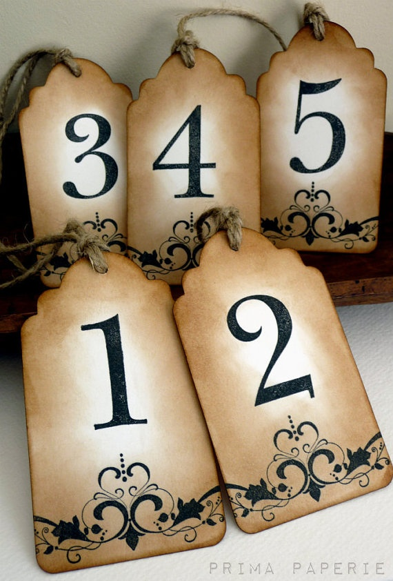 Wedding Table Number Gift Tags  Vintage Inspired  by PrimaPaperie
