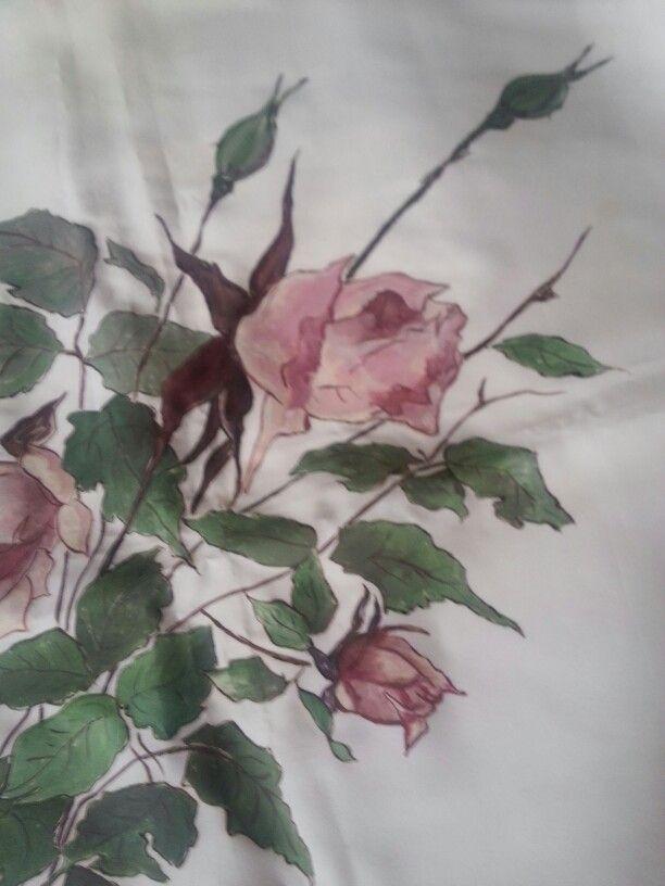 Foulard di seta dipinto con colori DEKA