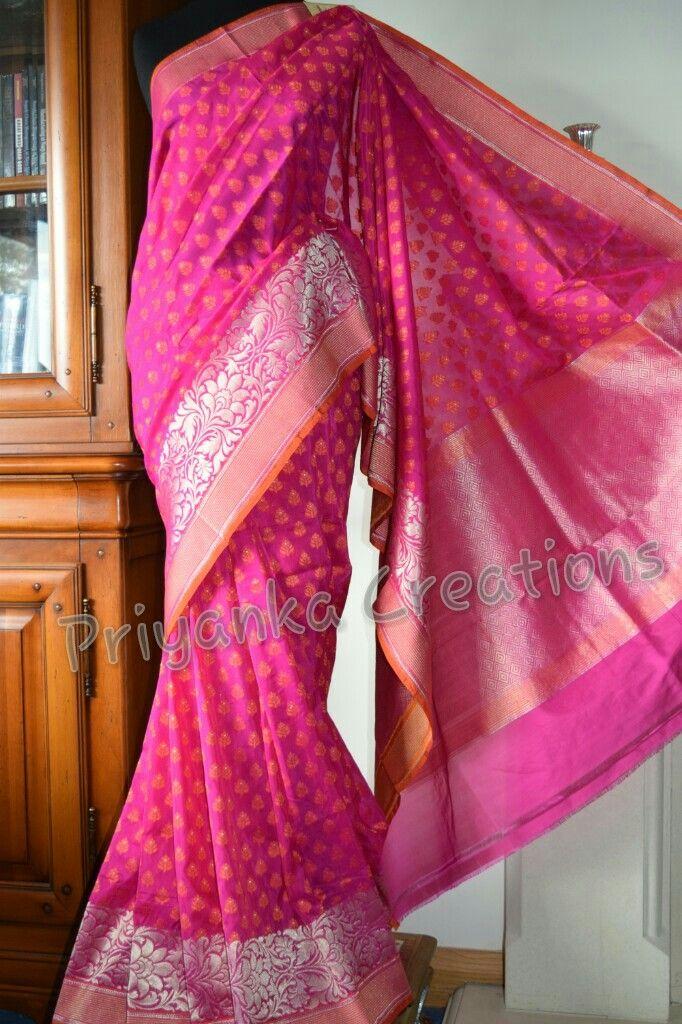 Handwoven pure katan silk benarsi saree by priyanka creations. https://www.facebook.com/priyankacreationspage/