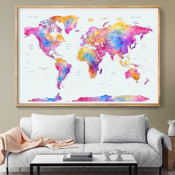 Large Wall Art ,Word Map Push Pin, Pink Watercolor Travel Wall Art Print Poster, extra large abstract painting world map, Home Decor  (L92)
