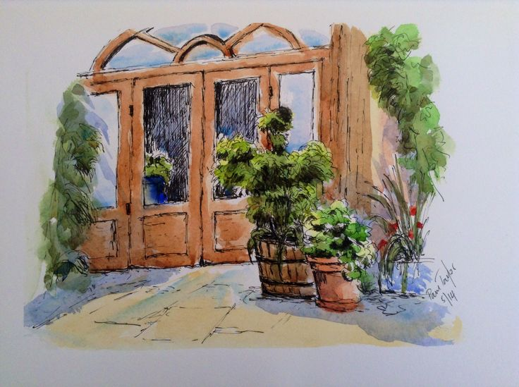 La Puerta, Pen and Wash
