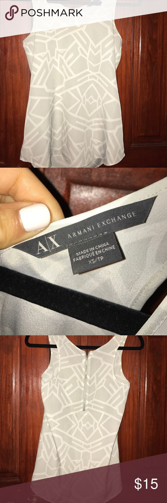 Amani exchange tops XS Grey and white A/X Armani Exchange Tops Tank Tops