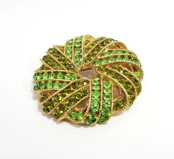 f57a82f6a4dbd Vintage WEISS Brooch Pin 2 Two tone green rhinestones   Etsy ...