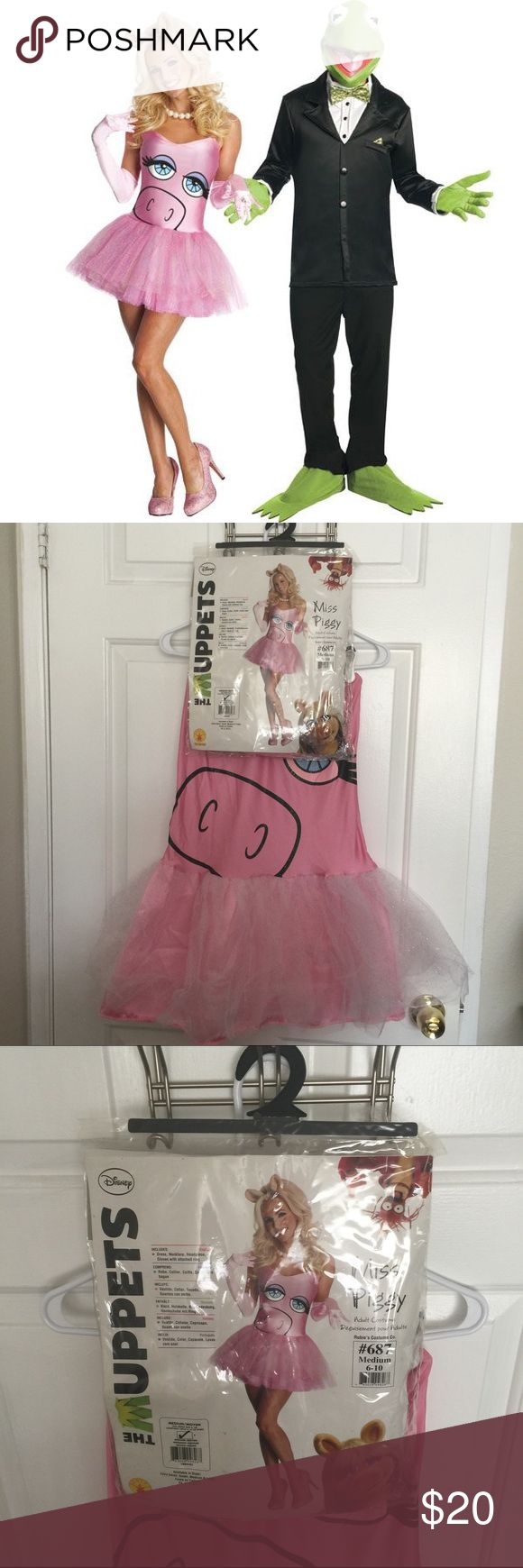 Miss Piggy costume! Great for Halloween or costume party! Worn once includes all original accessories plus I'll send the tan opaque tights for the complete look! Comes with dress (attached tutu skirt) pearl necklace, ears, and gloves. Size M. Disney Dresses Mini