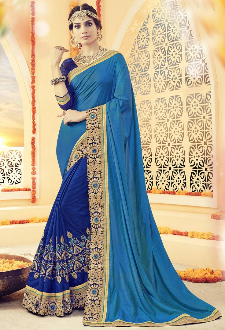 Shop blue georgette half n half saree , freeshipping all over the world , Item code srcii40