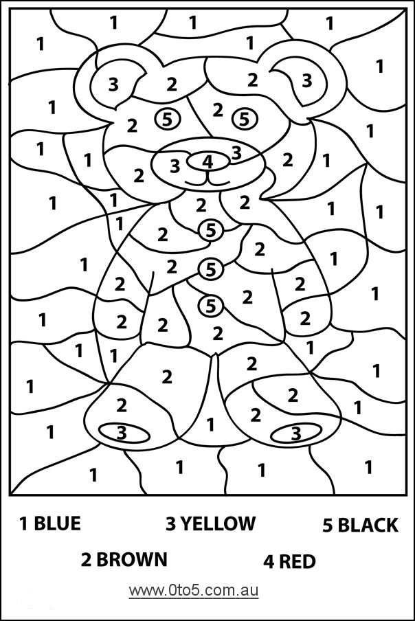 Harder color by number bear page....Preschool Teddy Bear Activities   0to5.com.au - Teddybear - colour by number (hard) template suitable ...