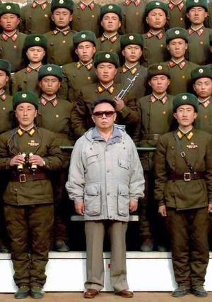 Kim Jong Il infront of his army.
