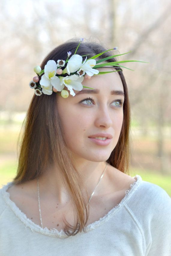 Wedding floral crown Bridal white  halo Freesia asymmetrical crown Boho Girl headpiece  floral head  wreath