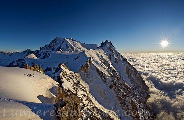 Le Mont-Blanc et l'aiguille du Midi au couchant, Chamonix, France