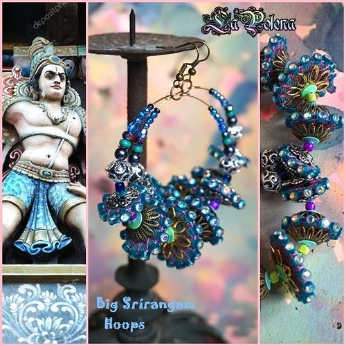 https://flic.kr/p/21zjZdd | SRÍRANGAM big Hoops | Big beaded dangle hoops with 2 x 5 artisan spacer beads by La Polena. only for order!
