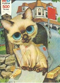 [special delivery], title not known, 1968, No. 4894-9 Art by GIG ~ 1 of a series of big eyed cat puzzles released by Milton Bradley. I actually own this puzzle and have it framed and mounted on my wall.