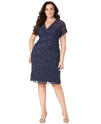 Marina Plus Size Dress, Cap Sleeve Lace Cocktail Dress - Plus Size Dresses - Plus Sizes - Macy's