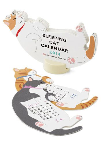 Year of the Critter 2014 Calendar in Sleepy Cat - Cats, Multi, Good, Dorm Decor, Scholastic/Collegiate, Print with Animals, Holiday
