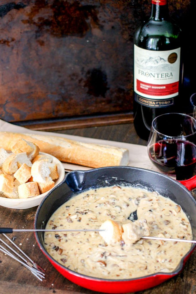 Mushroom Brie Fondue is a perfect blend of three different cheese and delicious mushrooms! This appetizer will not last long!