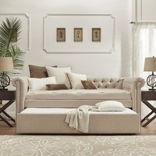 Tribecca Home Knightsbridge Tufted Scroll Arm Chesterfield Daybed With Trundle Ping Great Deals