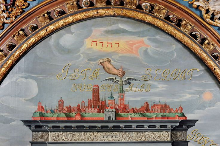 """Panorama_Gdańska_z_ręką_Opatrzności_czuwającej_nad_Ratuszem,_""""Apoteoza_Gdańska"""",_detal.JPG (800×533)"""
