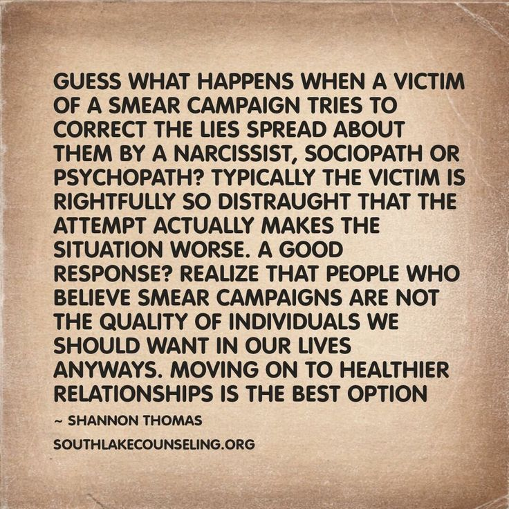 Psychopath Narcissist Sociopath. Their smear campaign , avoid it ...
