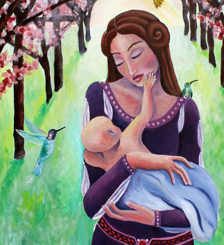 """First Touch, 11"""" by 14"""" PRINT - pregnancy art, mother and child art, mother and children painting, via Etsy."""