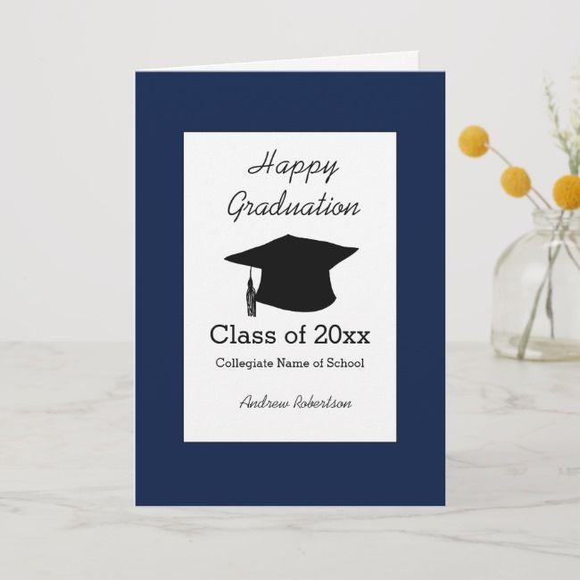 Class Of 2021 Blue Graduation Card Zazzle Com Graduation Cards Blue Graduation Happy Graduation