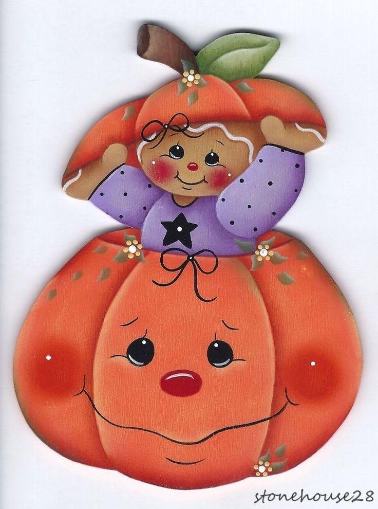 HP GINGERBREAD in a Pumpkin FRIDGE MAGNET #Handpainted