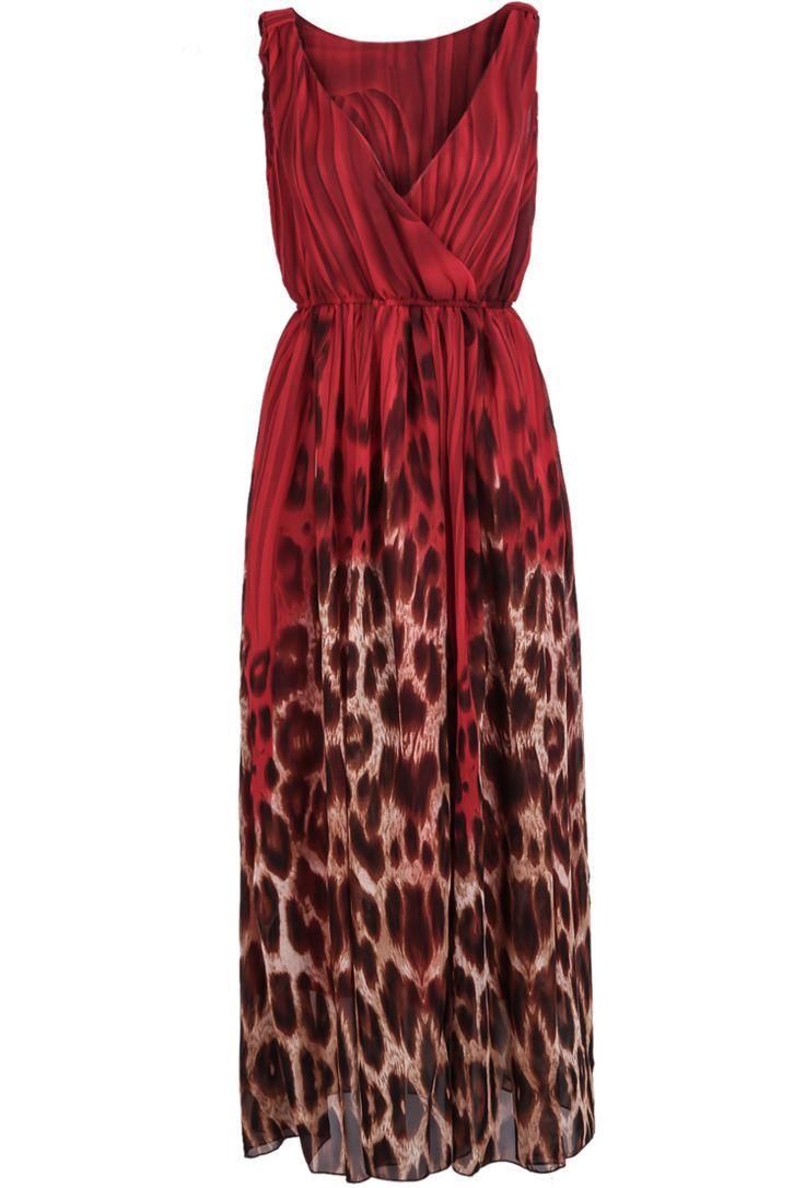 Red V Neck Sleeveless Leopard Chiffon Dress