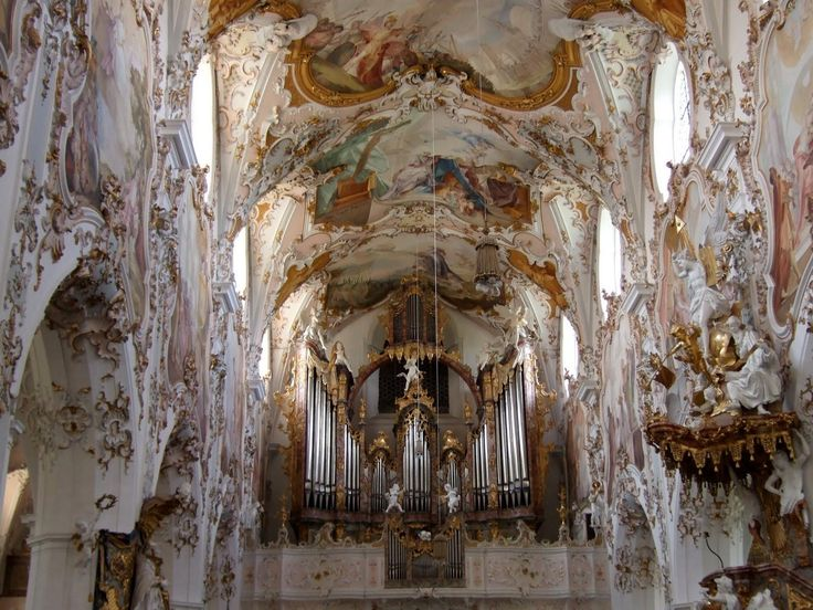 Beautiful baroque architecture inside rottenbuch abbey for Baroque style church