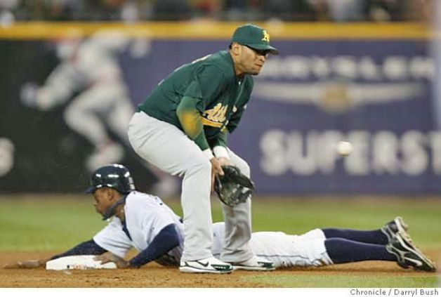 Homer Bush stealing 2nd in Game 2 of the ALCS against the A's. He could run like a deer!!