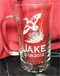Duck Hunt Theme Beer Mug Engraved, Birthday or Wedding Attendant Gift