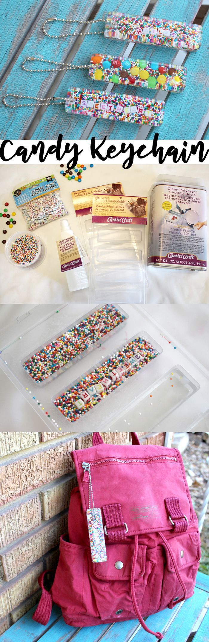 Candy Sprinkles Resin Keychain DIY!  These keychains can be customized and make the perfect handmade gift for the holidays. via @resincraftsblog  Find out #howtomake this #fun and #unique keychain! These keychains make great #giftideas or fun weekend #projects!