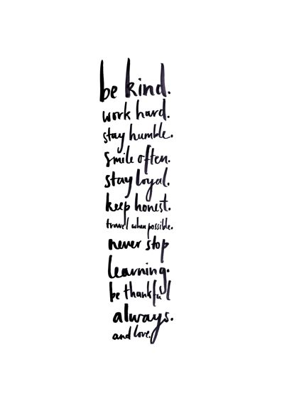 Be Kind - Pre-order Screen printed typographic print by Bianca Cash