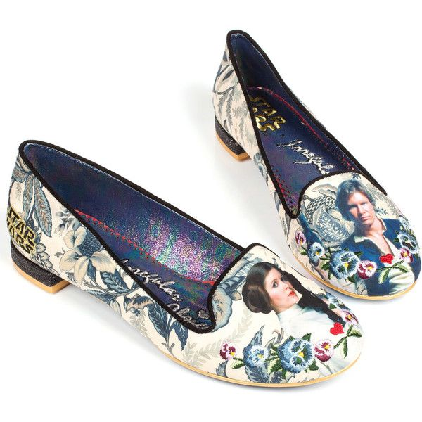 Irregular Choice Floral Star Wars I Know Flats ($166) ❤ liked on Polyvore featuring shoes, flats, star wars, zapatos, navy blue, navy flat shoes, flat shoes, irregular choice flats, floral flats and floral print flat shoes