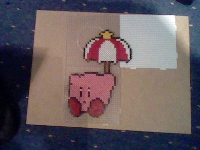 kirby from the kirby games made from hama/perler beads