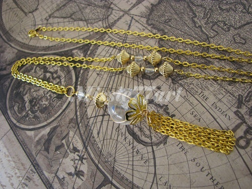 Pool of Light Gold Plate Tassel Necklace with Genuine Clear Quartz   -Gift boxed   $79.95
