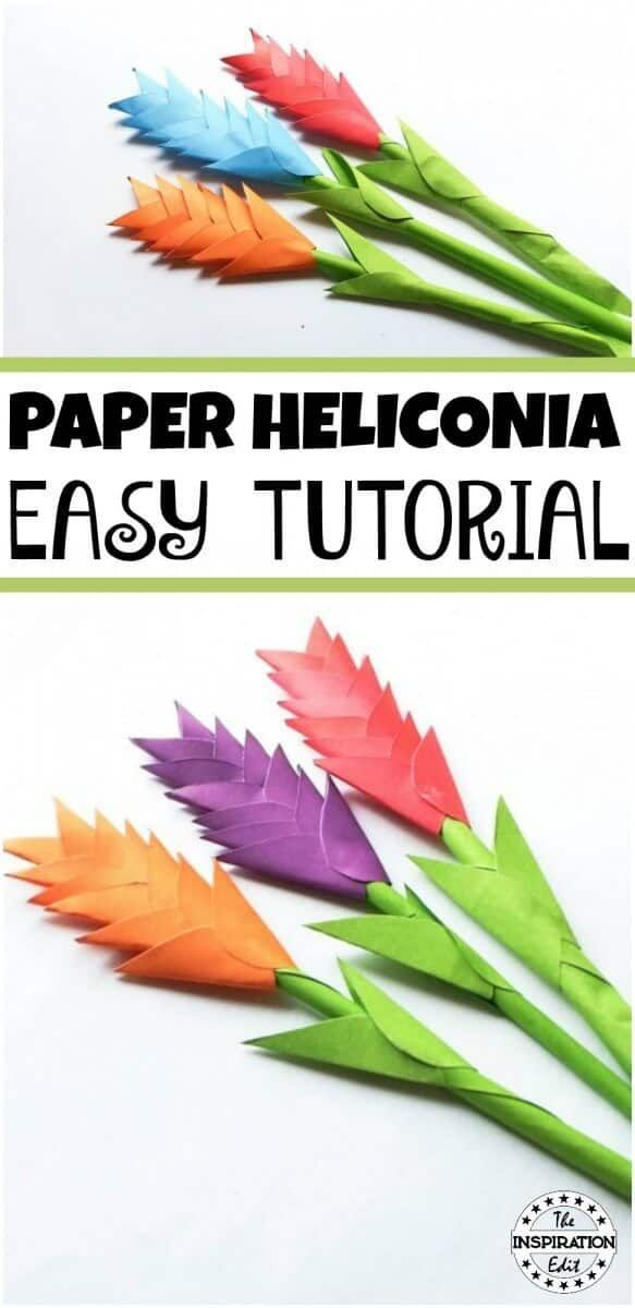 Diy Paper Heliconia Craft For Kids Paper Flowers For Kids