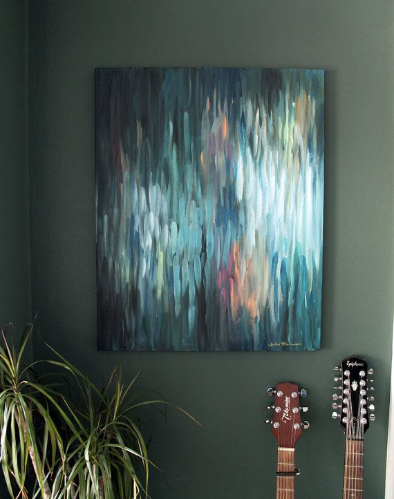 Night Fishing - a 24x30 Original Abstract Painting on Premium Stretched Canvas