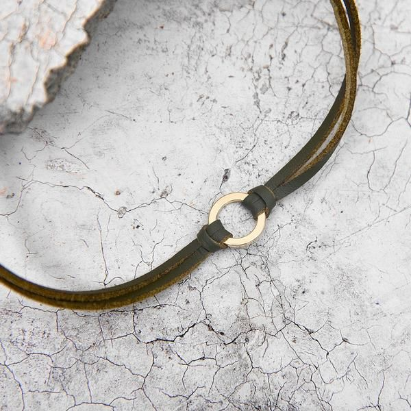 Leather Moon Choker, Chocker - Golden Spiral | Gold plated choker | Leather | Suede | Cloth Fabric | Black | Brown | Golden Chain | Style: Boho chic | Bohemian | Gypsy | Hippie | Festival | Nomad | Minimalistic |