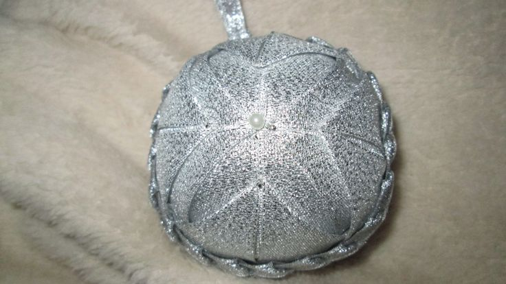 Handmade Quilted Christmas Ball Ornament - Silver