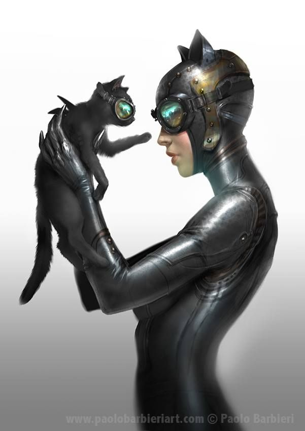 Max does take on a small black cat...otherwise there's no relevance but that I like it.   Catwoman by Paolo Barbieri