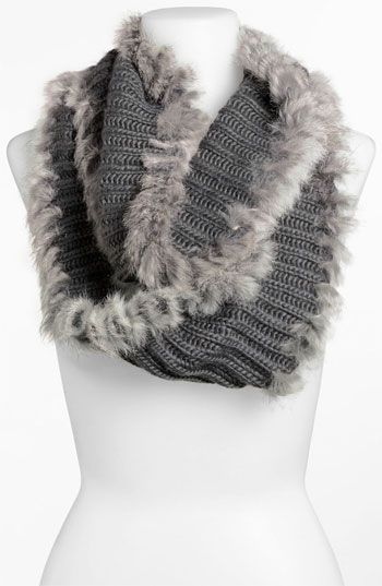 Brazen 'Whipped Stitch' Genuine Rabbit Fur Trim Infinity Scarf available at #Nordstrom