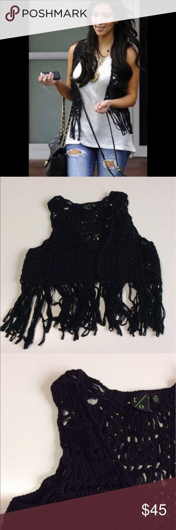 Kim K Style Black Crochet Fringe Vest 💕 Super cute Size Medium black Crochet Fringe vest! It fits like a Small/Medium. Good condition! Purchased at a boutique!💋 boutique Jackets & Coats Vests
