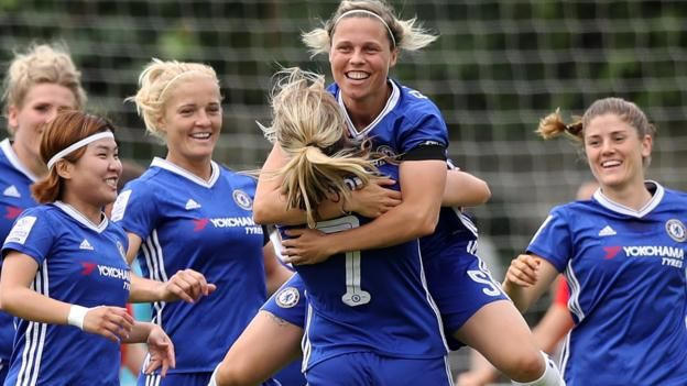 WSL Highlights: Chelsea 7-0 Liverpool Chelsea Ladies stunned Spring Series leaders Liverpool 7-0 while Manchester City lost to Arsenal on a pivotal day in the Women's Super League title race. Chelsea's WSL 1 hopes are in their own hands after Gilly Flaherty, Fran Kirby, Ji So-yun,...