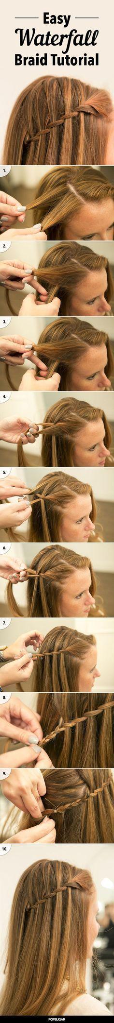 DIY Waterfall Braid long hair braids how to diy hair hairstyles hair tutorials e…
