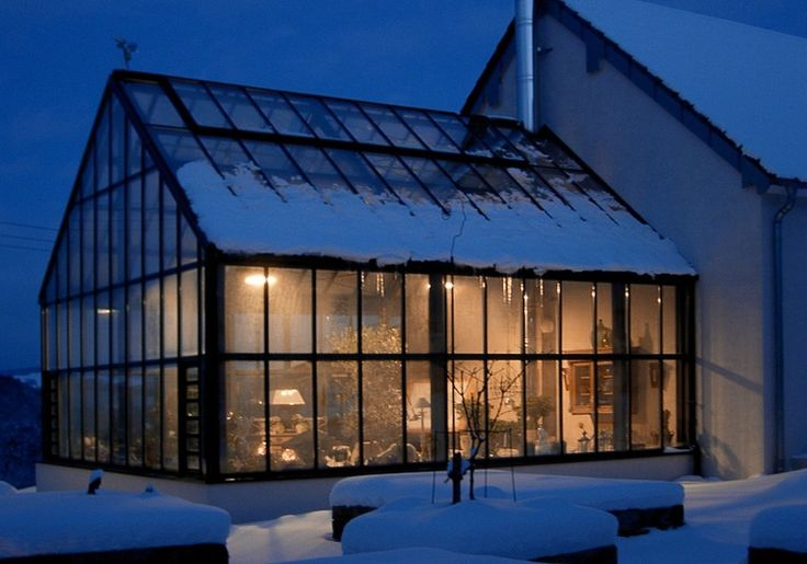 Double glass Gable Attached Greenhouse Orangery for year round use. Heated during the cold winter months. http://garden-greenhouse.se/